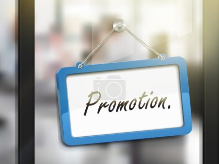 Illustration for Promotion hanging sign, 3D illustration isolated on office glass door - Royalty Free Image