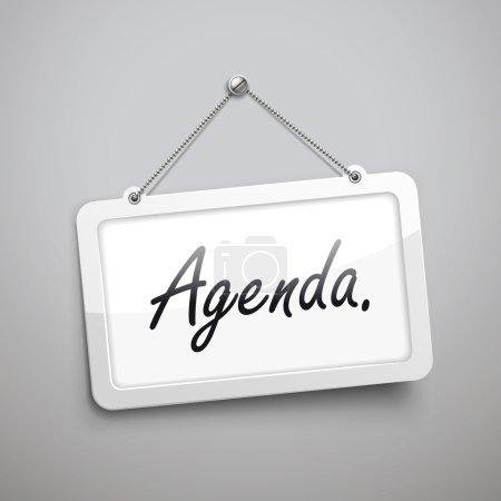 agenda hanging sign