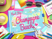 Champagne Beach on map top view of colorful travel essentials on table