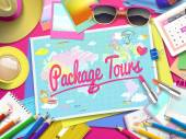 Package Tours on map top view of colorful travel essentials on table