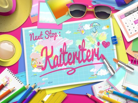 Illustration for Kaiteriteri Beach on map, top view of colorful travel essentials on table - Royalty Free Image
