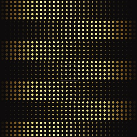 Illustration for Luxury golden dotted pattern on black background. Striped pattern. - Royalty Free Image