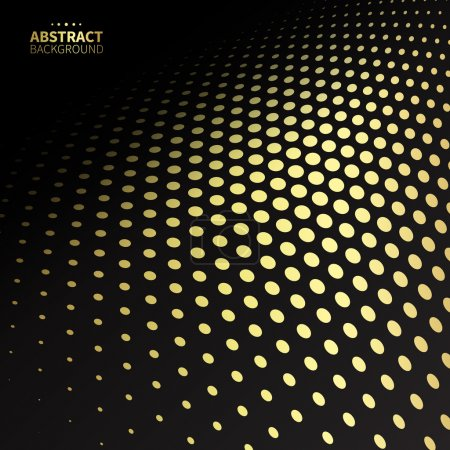 Illustration for Luxury golden dotted pattern on black background. Flat shape. - Royalty Free Image