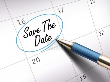 Illustration for Save the date words circle marked on a calendar by a blue ballpoint pen. 3D illustration - Royalty Free Image