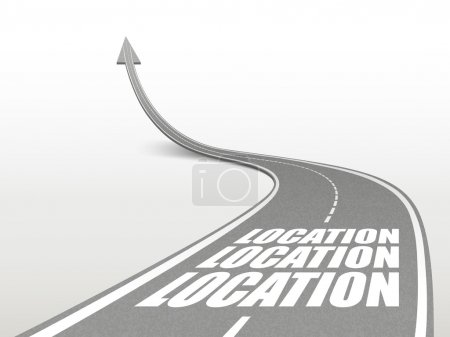 Illustration for Location word on highway road going up as an arrow - Royalty Free Image