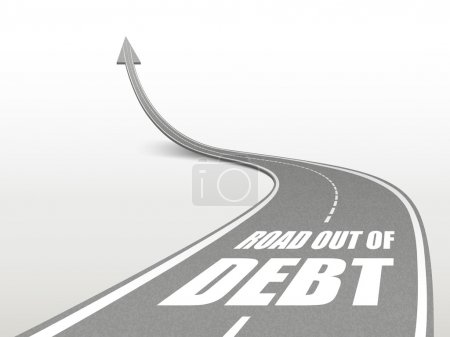 road out of debt words on highway road