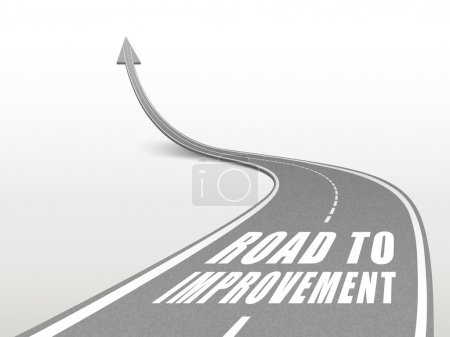 Illustration for Road to improvement words on highway road going up as an arrow - Royalty Free Image
