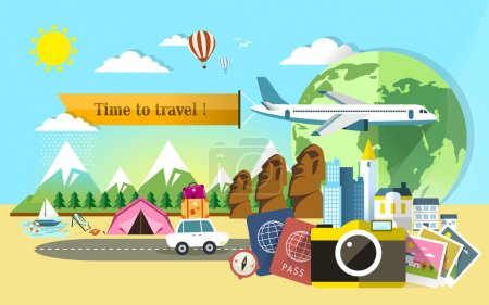 Illustration for Flat design for travel around the world banner - Royalty Free Image