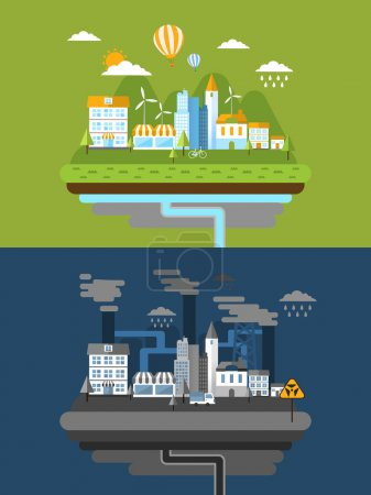 Illustration for Flat design for green energy and pollution concept - Royalty Free Image