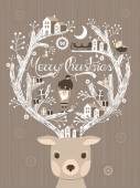 Lovely moose design Christmas card or poster in hand-drawn style