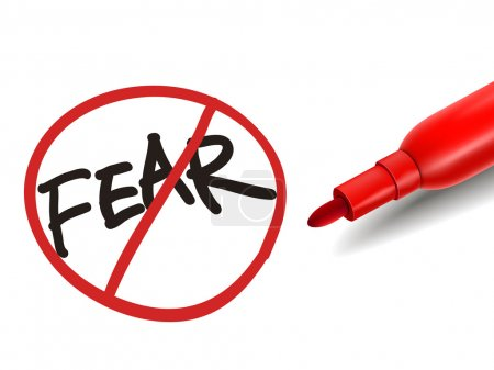 Illustration for No fear word with a red marker over white - Royalty Free Image