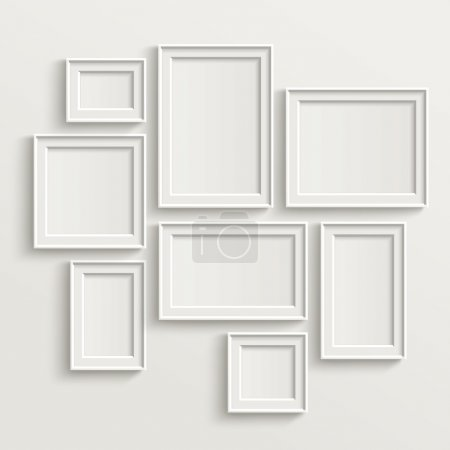 Illustration for Blank picture frame template set isolated on wall - Royalty Free Image
