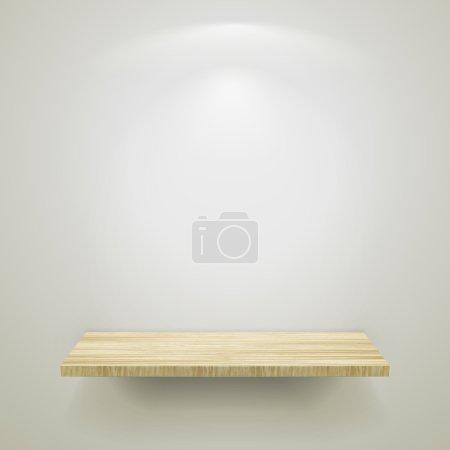 empty wooden shelf for exhibit