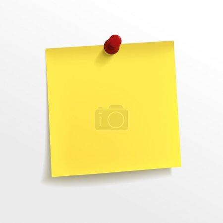 Illustration pour Papier de note jaune blanc avec épingle sur fond blanc - image libre de droit