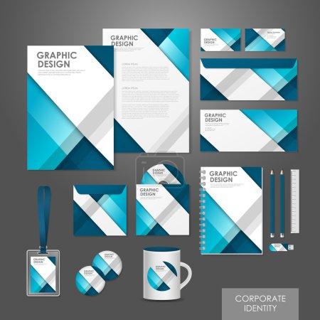 Illustration pour Abstrait créatif identité d'entreprise mis modèle en bleu - image libre de droit