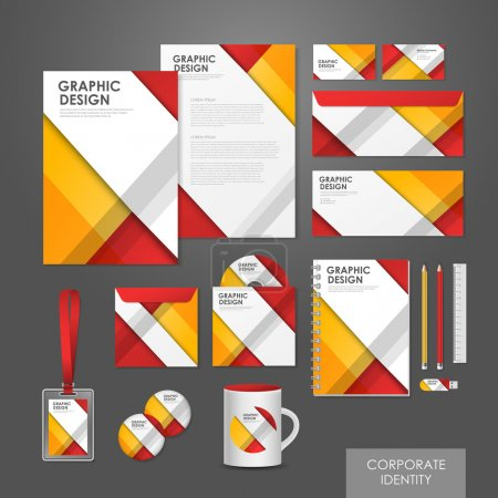 Illustration for Abstract creative corporate identity set template in red and orange - Royalty Free Image