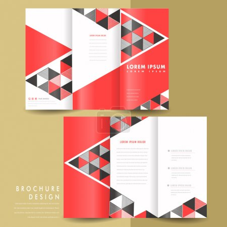 Illustration for Abstract modern geometric tri fold brochure in red and black - Royalty Free Image