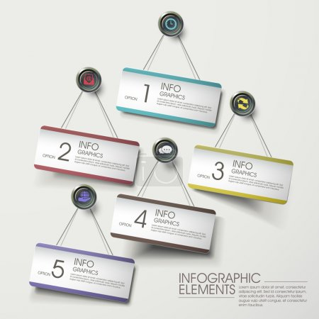 Illustration for Modern colorful hanging card infographic elements on the wall - Royalty Free Image
