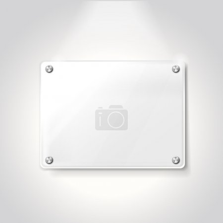 Illustration pour Vierge plaque de verre d'exposition isolé sur fond blanc - image libre de droit