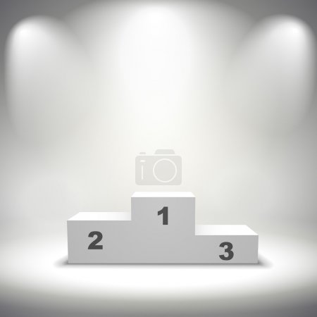 Illuminated winners podium isolated on grey backgr...