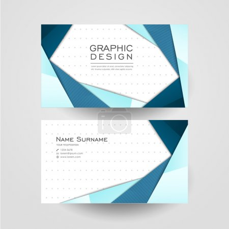 Illustration for Modern origami style design for business card in blue - Royalty Free Image