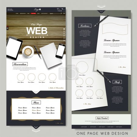 Illustration for Office scene one page website design template with stationery elements - Royalty Free Image