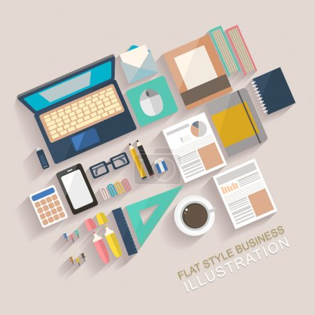 Illustration for Flat style business illustration of working place - Royalty Free Image
