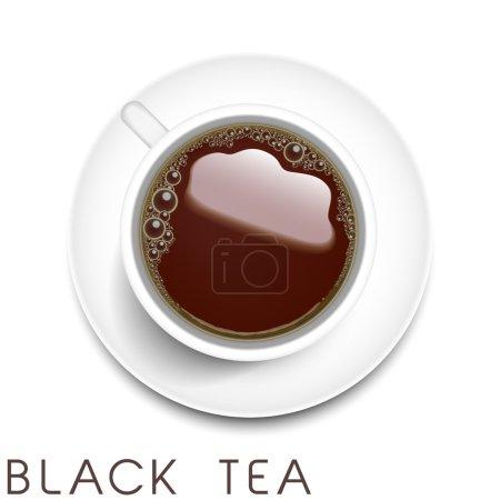 Top view of realistic black tea