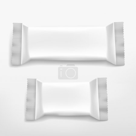Blank white food packaging set isolated on white