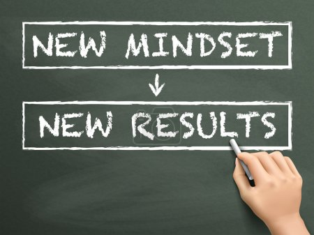 Illustration for New mindset make new results written by hand on blackboard - Royalty Free Image