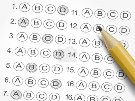 multiple choice answer sheet survey with pencil