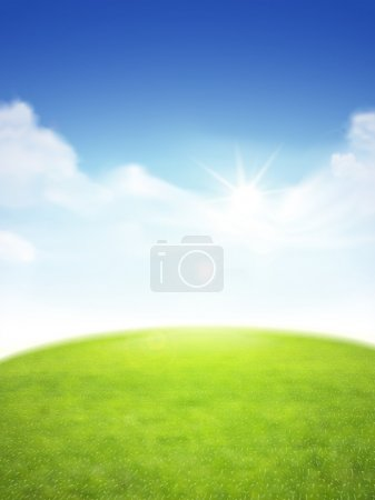 Illustration for Blue sky and field of green grass background - Royalty Free Image