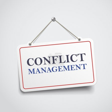 conflict management hanging sign