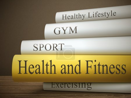 Stack of books with health and fitness concept