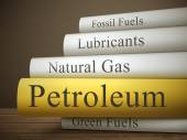 Stack of books with petroleum concept