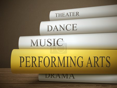 Stack of books with performing arts concept
