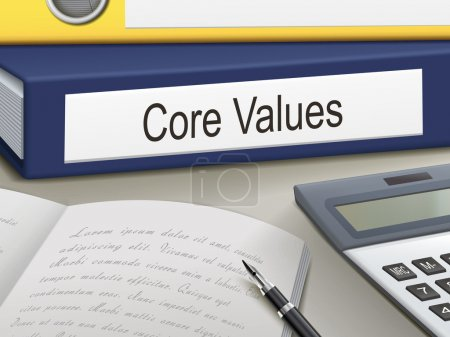 Illustration for Folder with core values documents - Royalty Free Image