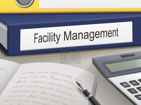 Illustration for Folder with facility management documents - Royalty Free Image