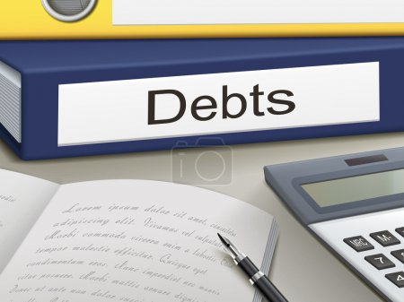 Illustration for Folder with debts documents - Royalty Free Image