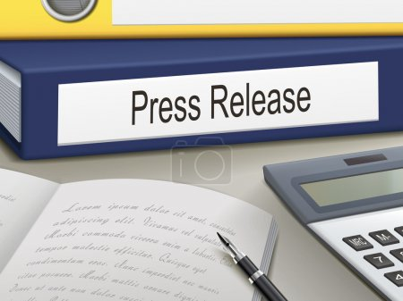 Illustration for Folder with press release documents - Royalty Free Image