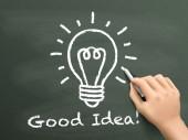 Good idea  word written by hand on blackboard