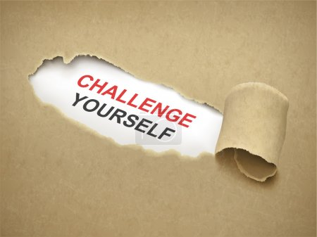 Illustration for Brown paper torn to reveal phrase challenge yourself - Royalty Free Image