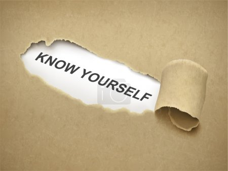Brown paper torn to reveal phrase know yourself...