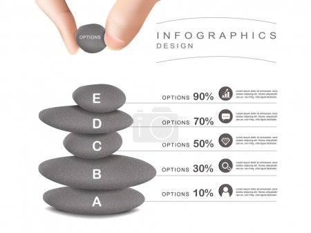 Illustration for Mental concept infographic template design with stone tower - Royalty Free Image