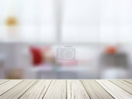 Illustration for Close-up look at wooden table over blurred kitchen scene - Royalty Free Image