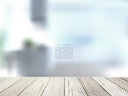 Illustration for Close-up look at wooden desk over blurred interior scene - Royalty Free Image