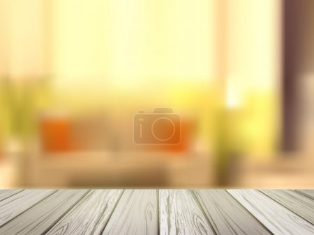 Illustration for Close-up look at wooden desk over blurred interior scene - Royalty Free Image