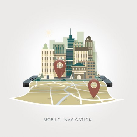 Illustration for Mobile navigation apps concept in flat design style - Royalty Free Image