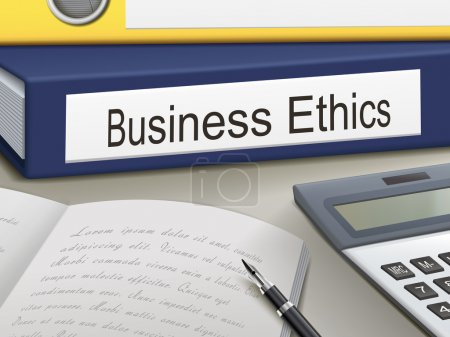 Illustration for Business ethics binders isolated on the office table - Royalty Free Image