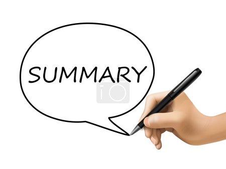 Ilustración de Palabra resumen escrito a mano 3d sobre blanco - Imagen libre de derechos